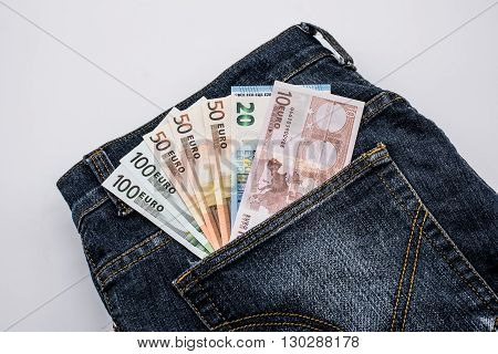 Jean pocket with some money, Euro currency