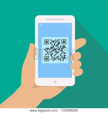 QR code reader app on smartphone screen. Hand holding phone with Scan  illustration