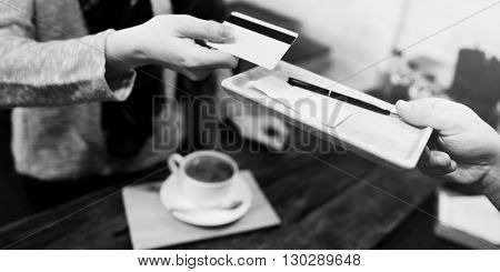 Money Coffee Shop Credit Payment Concept