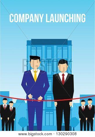 Company launching men cutting ribbon illustration concept