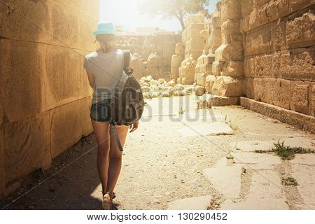tourist woman at the ruins