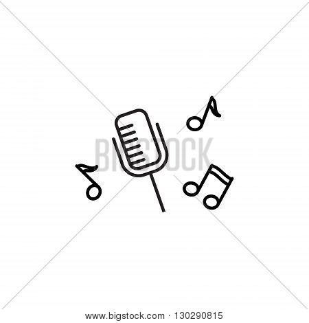 Microphone Recording, pictogram icon. Illustration for web site, mobile application. Simple flat metro design style. Outline Icon.