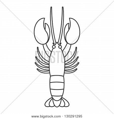 Vector lobster, line icon no color and background
