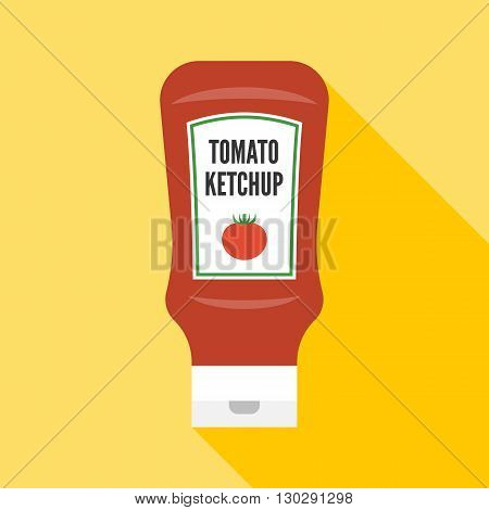 Vector tomato ketchup icon, flat design on yellow background