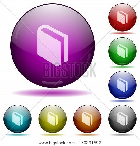 Set of color book glass sphere buttons with shadows.