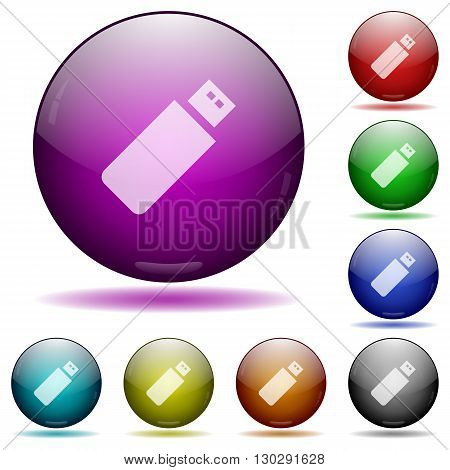 Set of color pendrive glass sphere buttons with shadows.