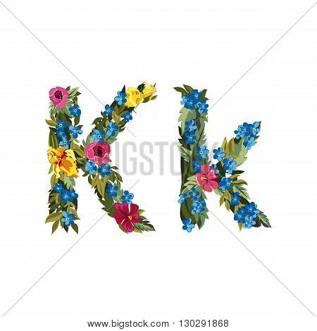 K letter. Flower capital alphabet. Colorful font. Uppercase and lowercase. Vector illustration. Grotesque style. Floral alphabet.