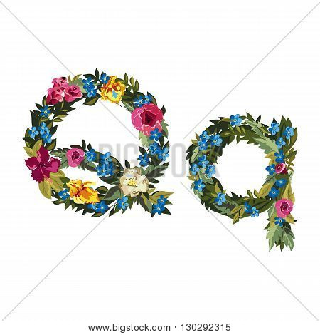 Q letter. Flower capital alphabet. Colorful font. Uppercase and lowercase. Vector illustration. Grotesque style. Floral alphabet.