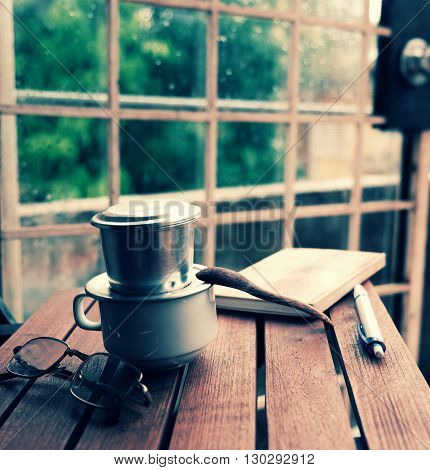 Coffee Time, Relax Moment In Rainy Day