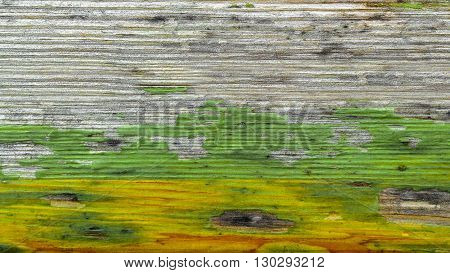 Jamaican colors painted on old wood plank texture. Grunge style for background.