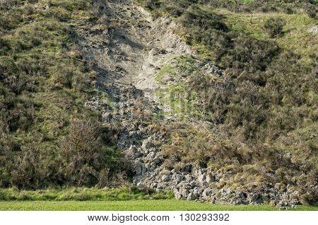 Landslip Landslide In Tuscany Hills Landscape
