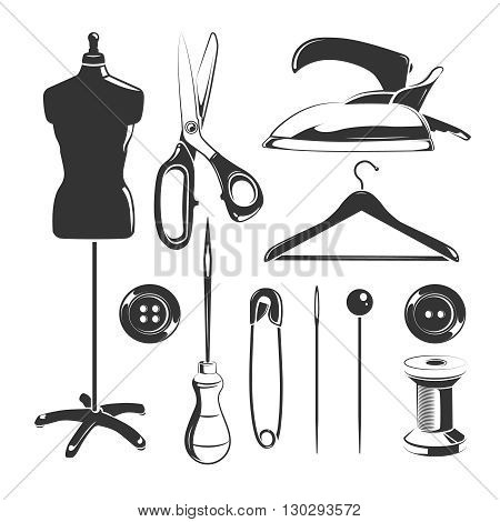 Vector elements for tailor labels. Scissor vintage badge for tailoring and emblem fashion element tailor illustration