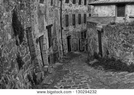 San Quirico Medieval Houses Stone Wall