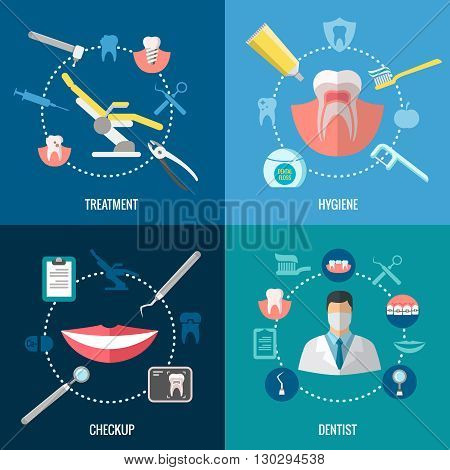 Teeth care. Dental services vector concepts set. Healthcare and prevention, prosthetics dental and stomatology dental tool illustration