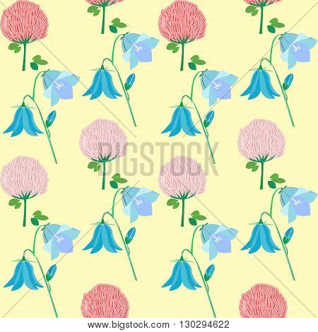 Wildflowers - bluebells clover flowers forget-me-nots and field carnation seamless pattern vector illustration
