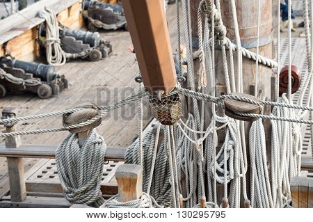 Sail Ship Shrouds And Ropes