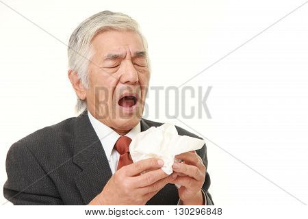 portrait of senior Japanese businessman with an allergy sneezing into tissue on white background