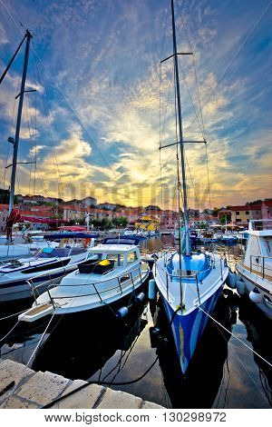 Sali village sunset in harbor vertical view island of Dugi otok in Croatia