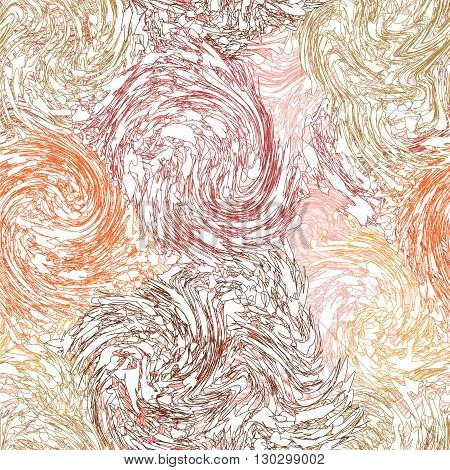 Grunge stained swirled l seamless pattern in pastel colors