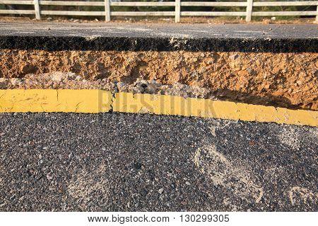Crack of asphalt road after storm pollution concept