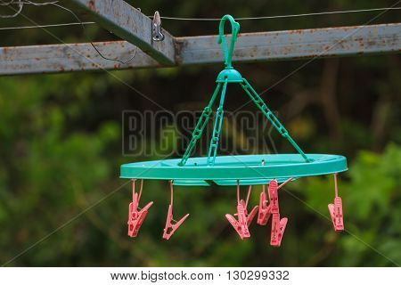 clothes pins on a washing line close up