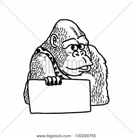 illustration vector hand drawn doodle of smile gorilla holding blank sheet of paper