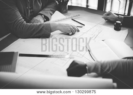 Architect Engineer Draft Blueprint Plan Design Concept