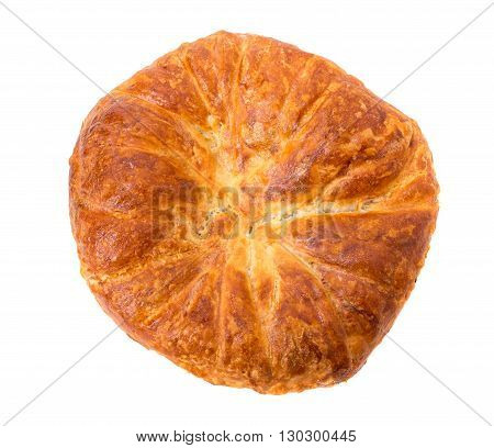 Delicious puff pie stuffed with chicken breast. Isolated on a white background.