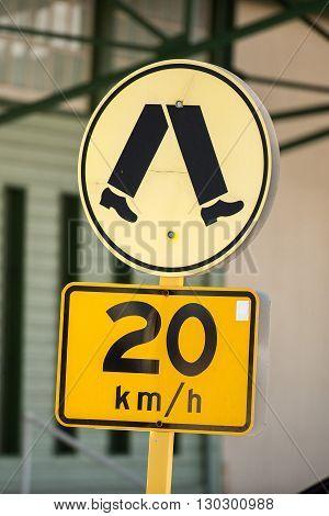20 Km Speed Limit Sign Pedestrian Zone