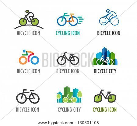 set of bicycle icons and symbols