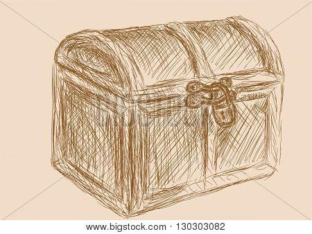 treasure chest. Hand drawn illustration 10 EPS