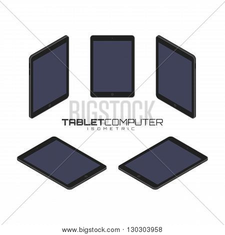 Black Tablet computer from four sides icon set vector graphic illustration. Isometric view of the front, back, right, left and top.