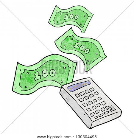 freehand drawn texture cartoon calculator counting money