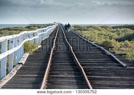 Geraldton antique wood railway jetty view landscape panorama