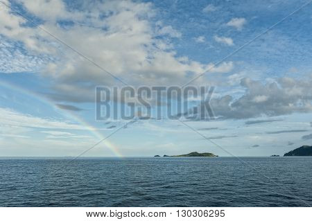 Raja Ampat Papua Islands Landscape With Rainbow