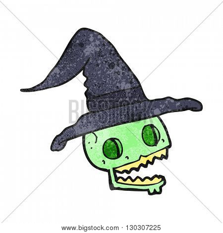 freehand drawn texture cartoon skulll wearing witch hat