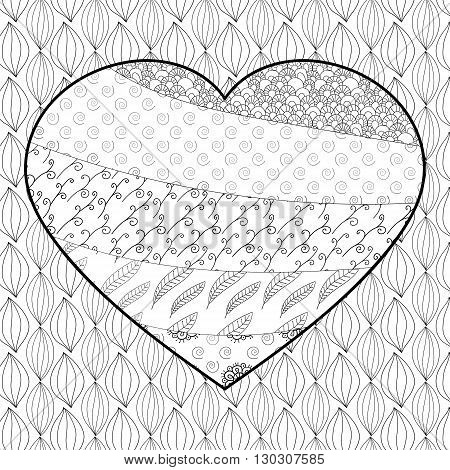 Heart adult coloring book page. Whimsical line art. Zentangle vector illustration.