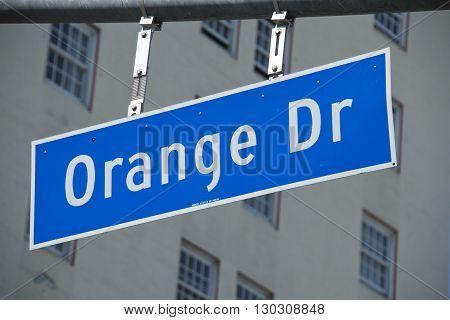 Los Angeles Hollywood Orange Drive sign close up