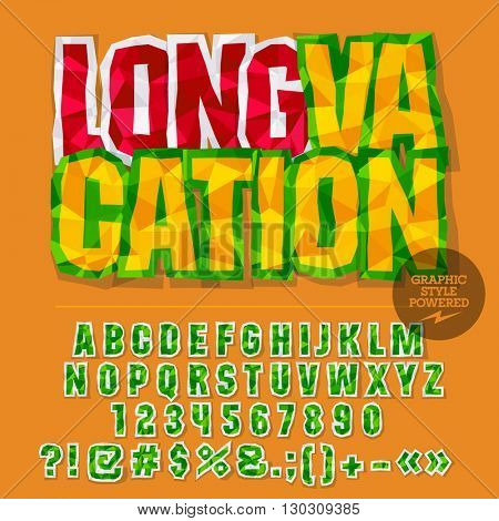 Vector colorful crumpled paper alphabet letters, numbers and punctuation symbols. Bright emblem with text Long vacation
