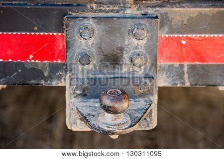 dirty car jeep rear hook detail close up