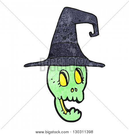 freehand drawn texture cartoon skull wearing witch hat