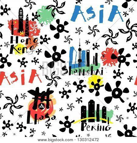 Travel and tourism Asia seamless pattern. China city seamless pattern. Pattern of spots, graffiti, splashes of watercolor, handmade