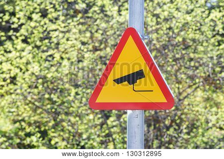 CCTV sign on a post with greenery in the background. Security camera video surveillance symbol