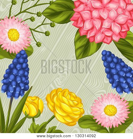 Background with garden flowers. Decorative hortense, ranunculus, muscari and marguerite. Image for wedding invitations, romantic cards, booklets.