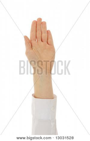 Businesswoman hand up - vote, isolated on white