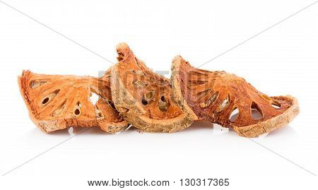 Closeup Dried quince isolated on white background