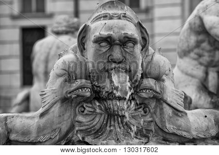Rome A Particular In Black And White Of Piazza Navona Fountain Place