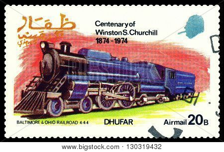 STAVROPOL RUSSIA - MARCH 30 2016: A Stamp printed in the Dhufar shows Old steam locomotive Baltimore & Ohio Railroad 4-4-4 stamp devoted to the Centenary of Winston S. Churchill circa 1974