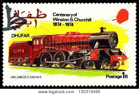 STAVROPOL RUSSIA - MARCH 30 2016: A Stamp printed in the Dhufar shows Old steam locomotive LMS Jubilee Clfss 4-6-0 stamp devoted to the Centenary of Winston S. Churchill circa 1974
