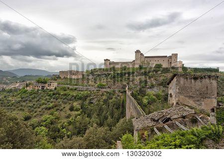 Spoleto Umbria Italy Castle view landscape panorama